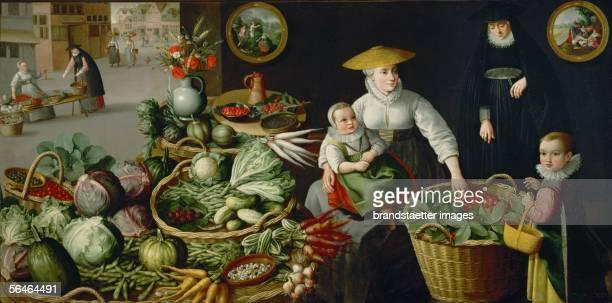 Vegetable market 1590 Part of a series showing the seasons Canvas5 x 220 cm Inv 7626 Dutch School [Gemuesemarkt 1590 Teil einer Serie die die...