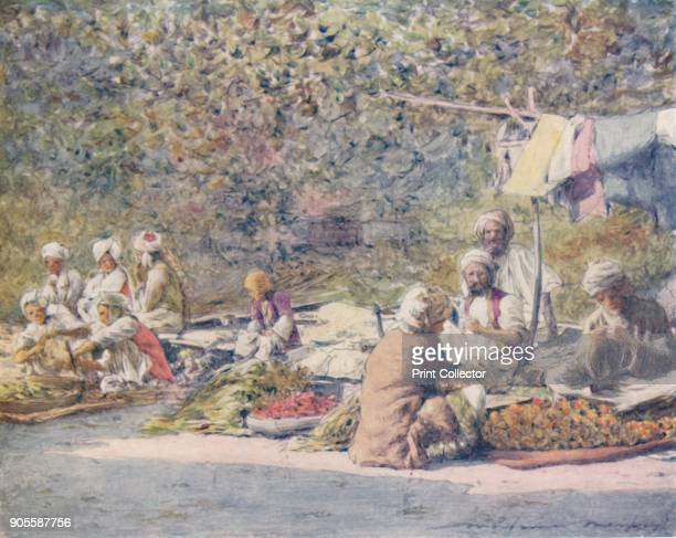 'A Vegetable Market Peshawur' 1905 From India by Mortimer Menpes Text by Flora A Steel [Adam Charles Black London 1905] Artist Mortimer Luddington...