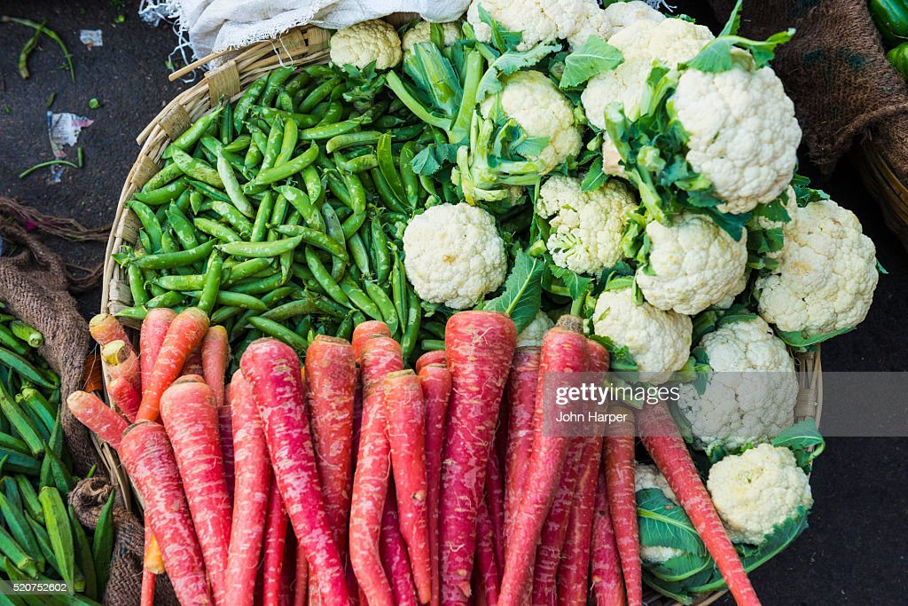 Vegetable market, Udaipur, Rajasthan, India : Stock Photo