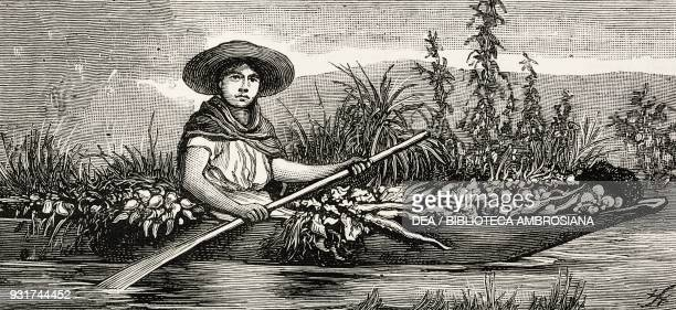 Vegetable merchant on a boat Mexico illustration from the magazine The Graphic volume XXV no 647 April 22 1882