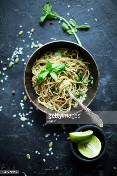 vegetable pasta - vegan food stock photos and pictures