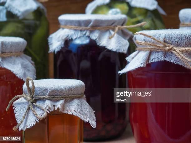 Vegetable preserves in pantry