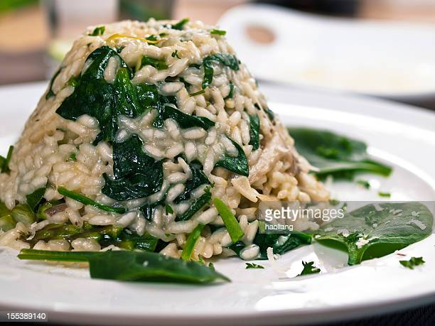 Vegetable risotto made with asparagus, mushroom and spinach.