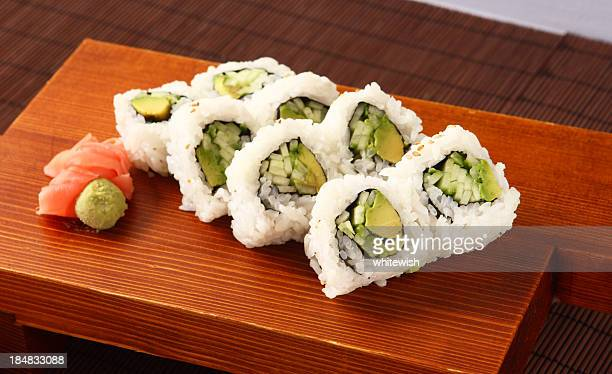 vegetable roll - maki sushi stock pictures, royalty-free photos & images