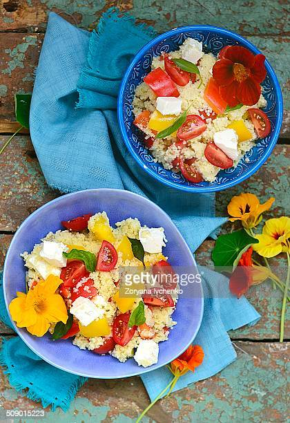 vegetable salad with couscous and feta