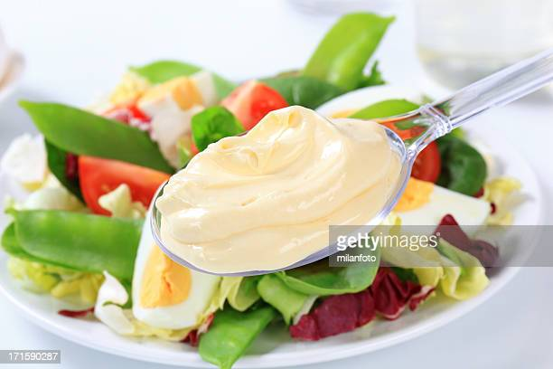 vegetable salad with hardboiled egg - mayonnaise stock pictures, royalty-free photos & images
