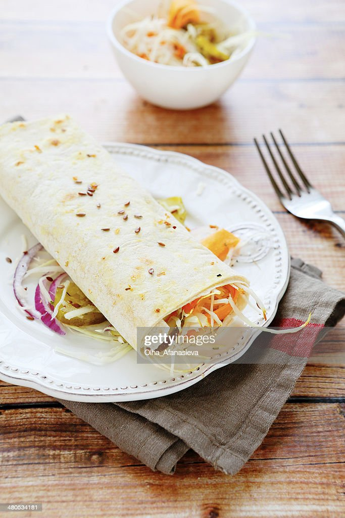 vegetable salad wrapped in pita bread : Stock Photo