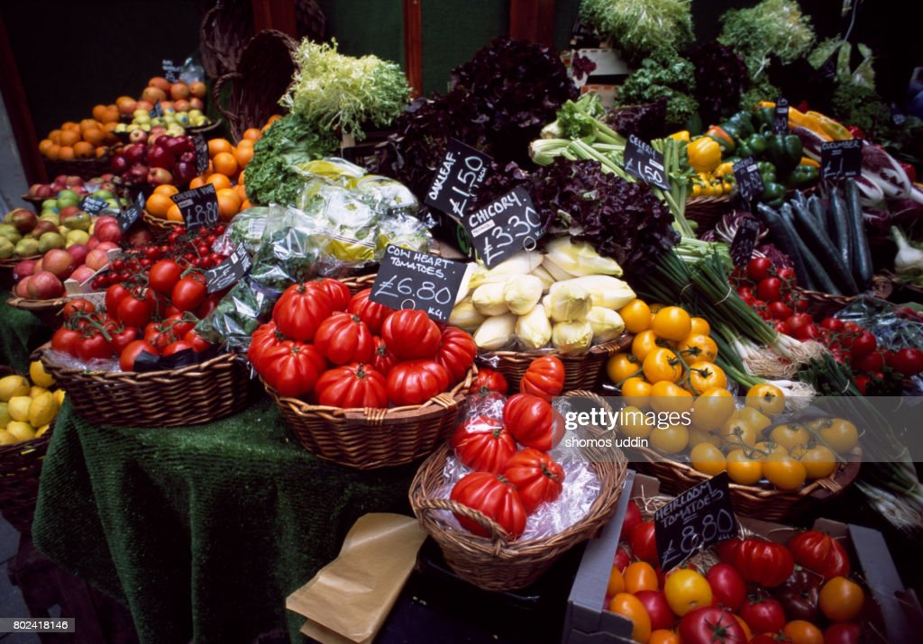 Vegetable selections at market stall : Stock Photo