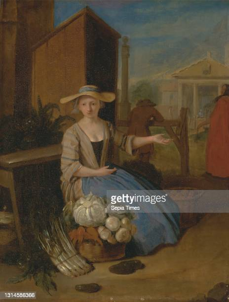 Vegetable Seller, Covent Garden, Pieter Angillis, 1685–1734, Flemish, active in Britain , ca. 1726, Oil on panel, Support : 13 5/8 x 10 5/8 inches ,...