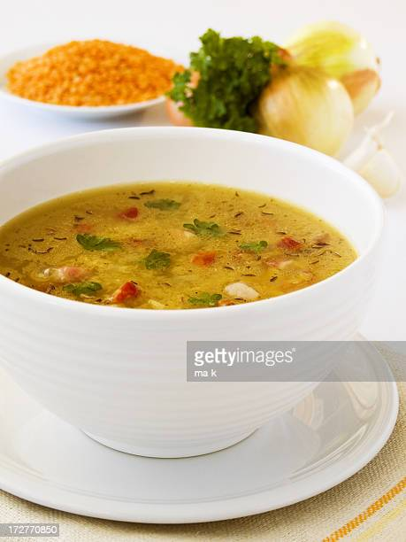 Vegetable soup in a white ceramic bowl