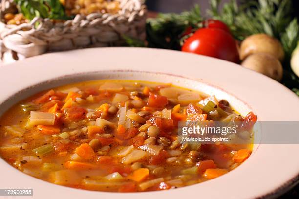 vegetable soup - lentil stock pictures, royalty-free photos & images