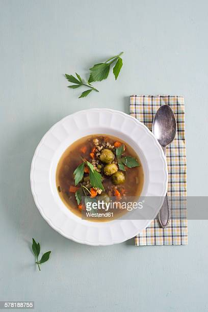 Vegetable soup with cereals and lovage