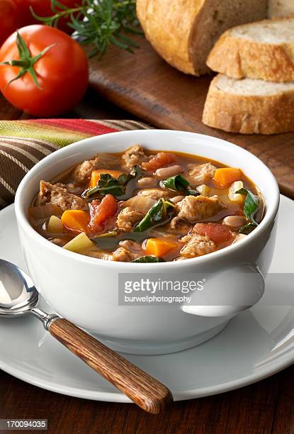 vegetable soup with sausage - vegetable soup stock pictures, royalty-free photos & images
