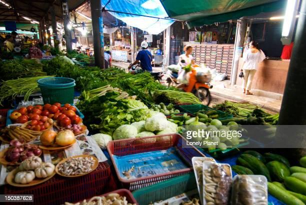 Vegetable stall at Laem Din Market, Hat Chaweng.