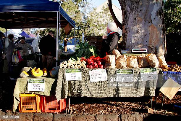 Vegetable stall in Abbotsford Convent Slow Food Farmer's Market one winter Saturday. Slow Food Farmer's Market is held once a month in Abbotsford...