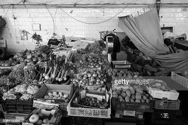 Vegetable stand in Market do Bolhao in the city of Oporto Portugal on 6 June 2016 Market Bolhao which sells meat fish fruit flowers and many other...
