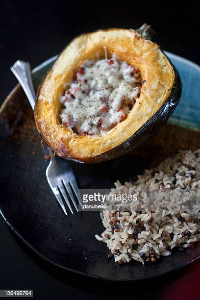 Vegetable stuffed acorn squash with rice