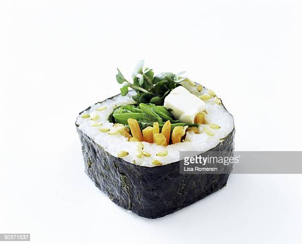 vegetable sushi roll - sushi stock pictures, royalty-free photos & images