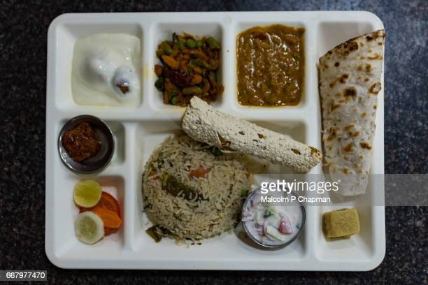 Vegetable Thali, a typical South India meal, served in Kanchipuram, Tamil Nadu