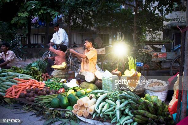 Vegetable vendor selling vegetables, Mayur Bihar phase 3, Delhi, India