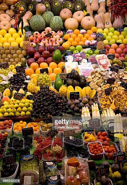 CONTENT] Vegetables and fruits Boqueria Market Barcelona Spain