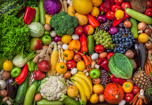 Vegetables and fruits large overhead mix group on colorful background 857145602