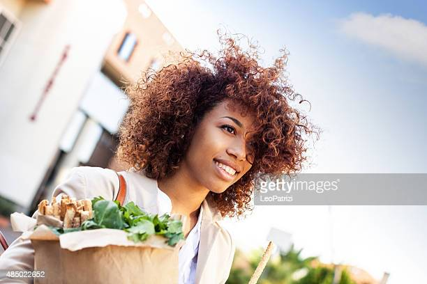 Vegetables and healthy products shopping in the morning