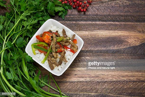 Vegetables and meat strips
