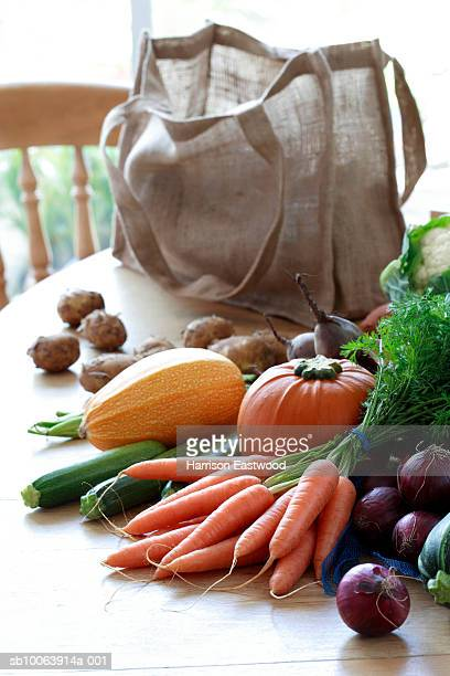 Vegetables and shopping bag on kitchen table
