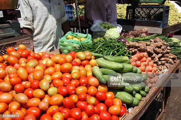 Vegetables are displayed at market at southern Indian state of Kerala also called 'God's Own Country' the world famous beach of Kovallam This beach...
