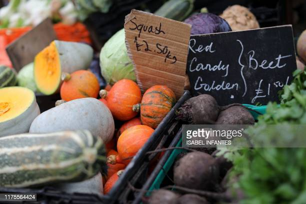 Vegetables are displayed on the stalls at The Spread farmers' market in Primrose Hill north west London on October 5 2019 Brexit supporters have said...