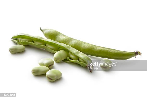 Vegetables: Broad Beans Isolated on White Background