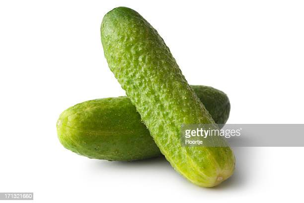vegetables: gherkin isolated on white background - pickled stock pictures, royalty-free photos & images