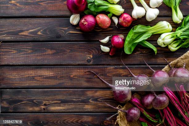 vegetables harvest with green tops table