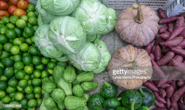 vegetables in luang prabang market, laos - bancarella di verdura foto e immagini stock