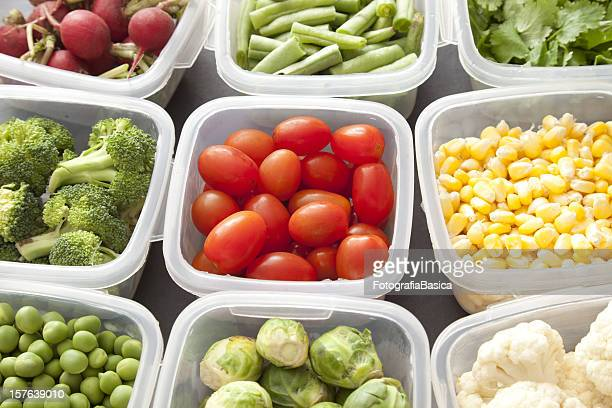 vegetables in plastic containers - container stock pictures, royalty-free photos & images