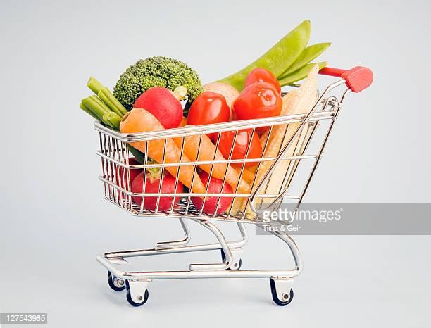 Vegetables in shopping cart