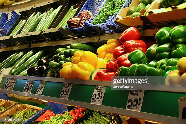 vegetables in the market - produce aisle stock photos and pictures