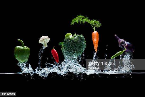 Vegetables Jump out from water .