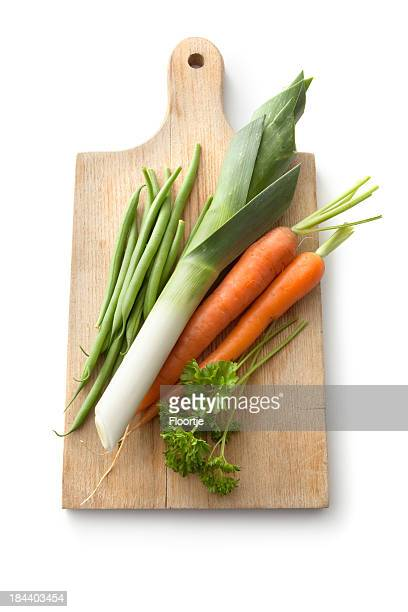 Vegetables: Leek, Carrot, Green Bean and Parsley Isolated on White