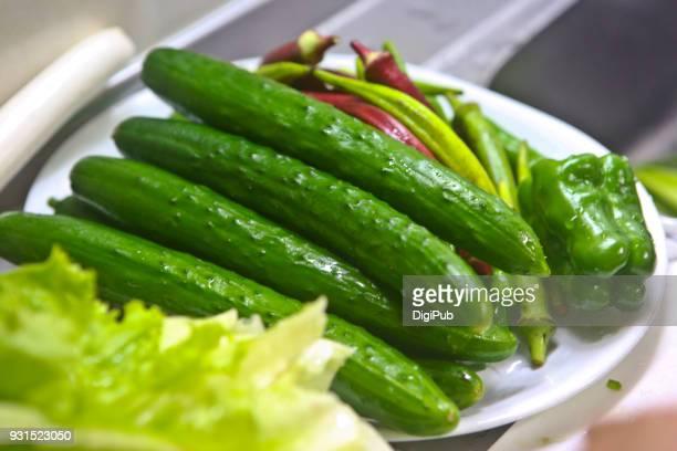 vegetables lettuce cucumber okra green bell pepper - 茨城県 ストックフォトと画像