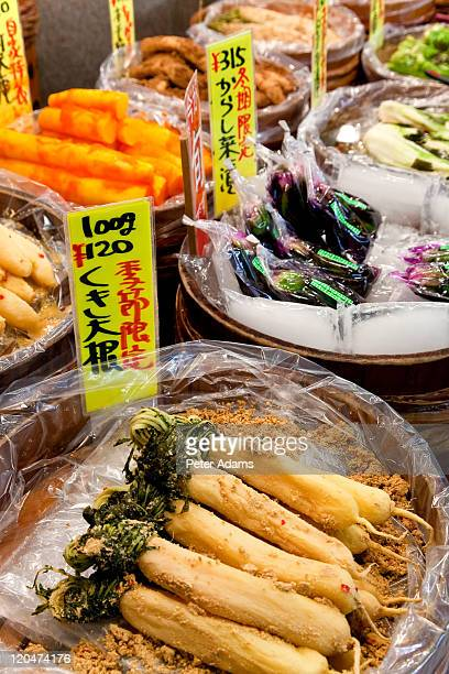 vegetables, nishiki food market, kyoto, japan - nishiki market stock photos and pictures