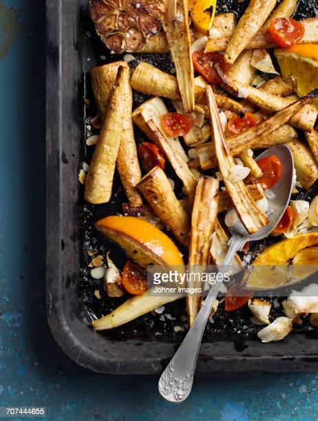 Vegetables on baking tray