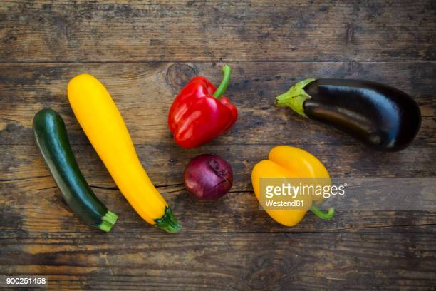 vegetables on dark wood - marrow squash stock pictures, royalty-free photos & images