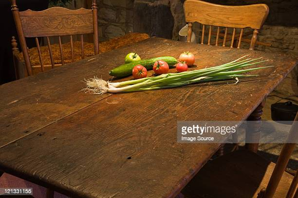 Vegetables on rustic kitchen table