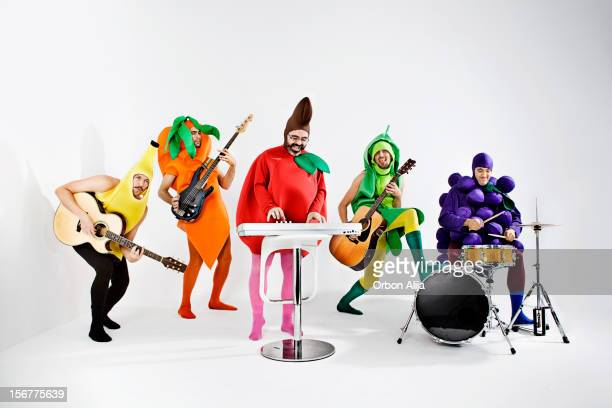 vegetables rock band - punk person stock pictures, royalty-free photos & images