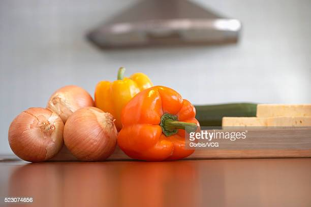 Vegetables with Cutting Boards in Kitchen