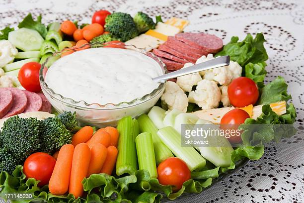 Vegetables with Meat and Cheese Party Platter