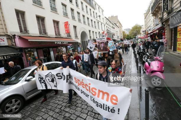 Vegetarian activists protest during the 18th Paris Veggie Pride on September 22 2018 in Paris The Paris Veggie Pride is held with the aim of...