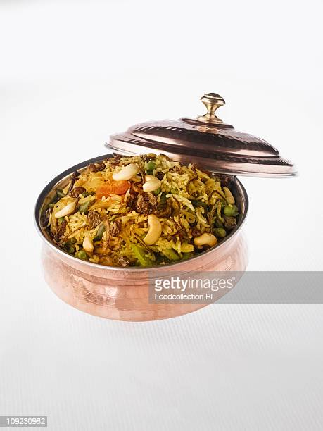 Vegetarian biryani in bowl, close-up